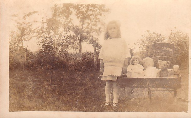 Lois Taking Her Doll Family for a Ride in Vintage Wagon, Real Photo Post Card - 2936