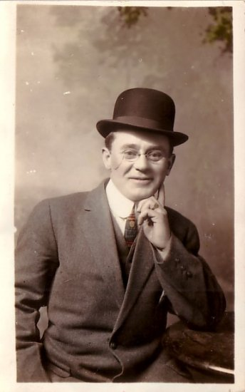 Mr. Bohan in his 1912 Bowler Hat, Real Photo Post Card RPPC - 2940