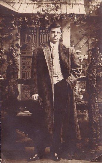 Handsome Gentleman in Overcoat, Real Photo Post Card RPPC - 2941