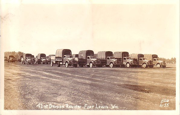 41st Division Review at Fort Lewis in Washington WA, Real Photo Post Card RPPC - 2943