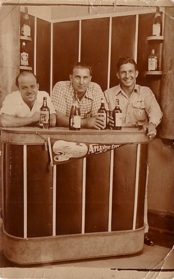 Three Jolly Fellows Standing Behind a Bar, Real Photo Post Card RPPC - 2960