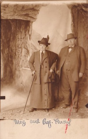 May and Professor Harvey, Portly Couple with Canes, Real Photo Post Card RPPC - 2968