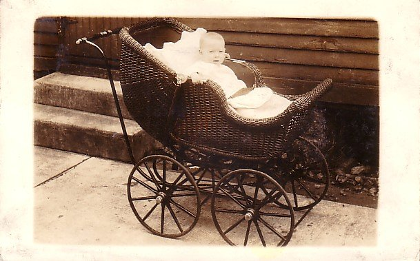 Miss Anna Malke in her Wicker Baby Carriage, Real Photo Post Card RPPC - 2970