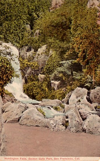 Huntington Falls at Golden Gate Park San Francisco California CA Vintage Postcard - 2974