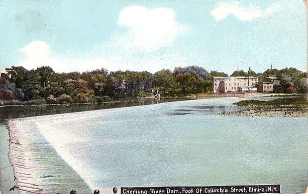Chemung River Dam at Elmira New York NY Vintage Postcard - 2977