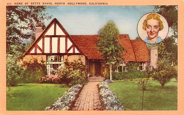 Home of Bette Davis in North Hollywood California CA, Linen Postcard - 2987
