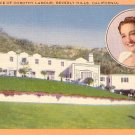 Residence of Dorothy Lamour in Beverly Hills California CA, Linen Postcard - 2989