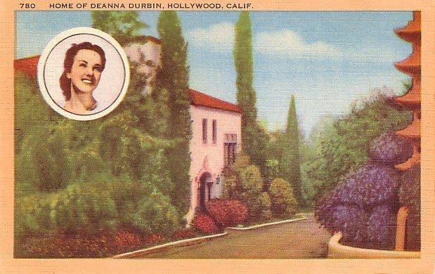 Home of Deanna Durbin in Hollywood California CA, Linen Postcard - 2990