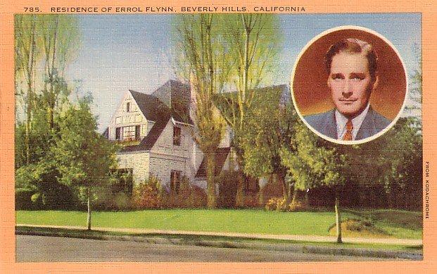 Residence of Errol Flynn in Beverly Hills California CA, Linen Postcard - 2992