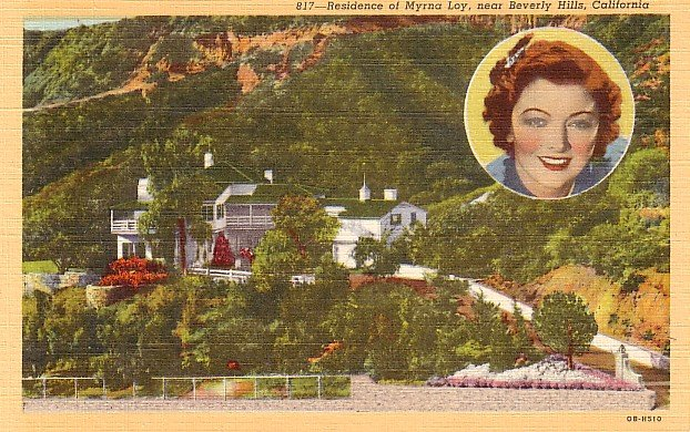 Residence of Myrna Loy near Beverly Hills California CA, Linen Postcard - 2998