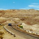 Lone Car Driving Through South Dakota SD Badlands 1956 Curt Teich Postcard - 3028