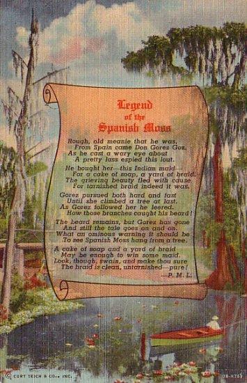 Legend of the Spanish Moss 1940 Curt Teich Linen Postcard - 3035