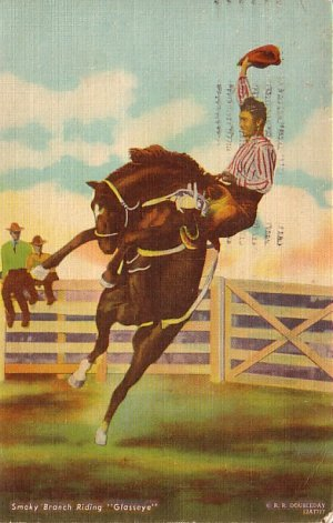 Smoky Branch Riding the Horse Glasseye, 1950 Beals Linen Postcard - 3040