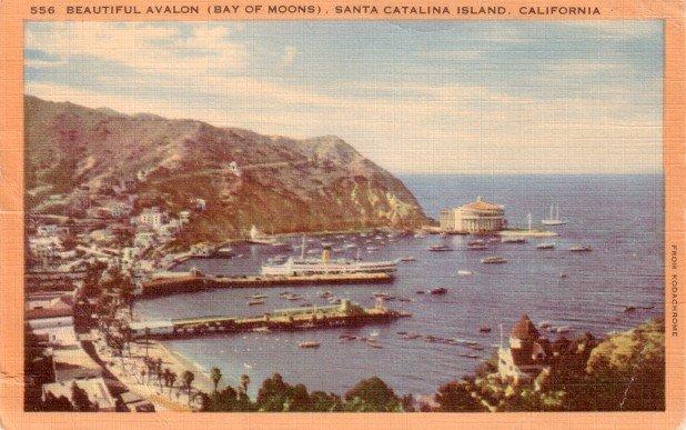 Beautiful Avalon, Bay of Moons in Santa Catalina Island California CA, Linen Postcard - 3058