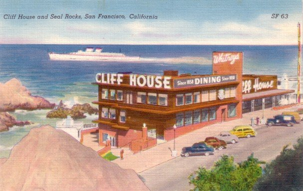 Cliff House Restaurant in San Francisco California CA, Mid Century Linen Postcard - 3065