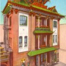 Kong Chow Temple at Chinatown in San Francisco California CA, Linen Postcard - 3070