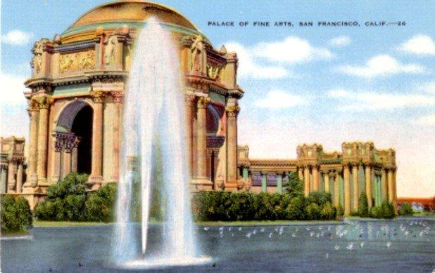 Palace of Fine Arts in San Francisco California CA, Linen Postcard - 3076
