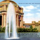 Palace of Fine Arts in San Francisco California CA, Linen Postcard - 3076