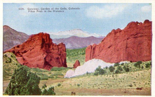 Gateway to the Garden of the gods in Colorado CO, Linen Postcard - 3087