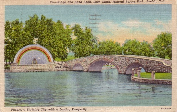 Band Shell and Bridge over Lake Clara at Mineral Palace Park in Pueblo Colorado CO, Postcard - 3091