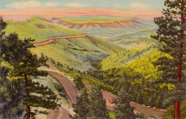Lookout Mountain Highway in Colorado CO, 1940 Curt Teich Linen Postcard - 3097