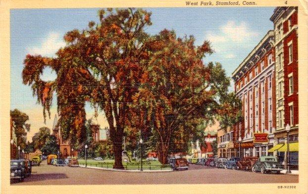 West Park in Stamford Connecticut CT, 1940 Curt Teich Linen Postcard - 3101