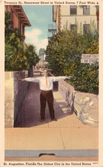 Treasury Street, Narrowest Street in US located in St Augustine Florida FL, Linen Postcard - 3105
