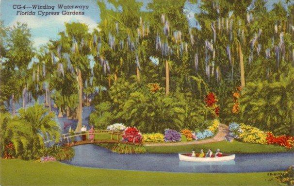 Winding Waterways of Cypress Gardens in Florida FL, 1948 Curt Teich Postcard - 3116