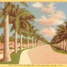 Las Olas Blvd in Fort Lauderdale Florida FL, 1950 Linen Postcard - 3117