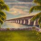 Overseas Highway Bridge at Pigeon Key Florida FL, Linen Postcard - 3121