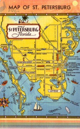 Map of St. Petersburg Florida FL, Tourist Attractions 1948 Linen Postcard - 3125