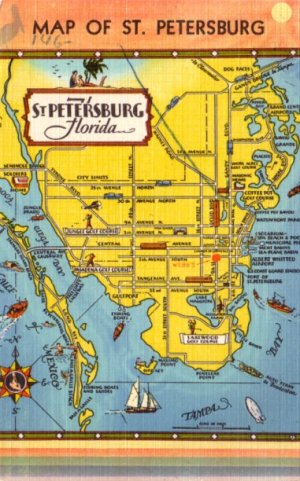 Map Of Florida Tourist Areas.Map Of St Petersburg Florida Fl Tourist Attractions 1948 Linen