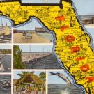 Multi View Map of Florida FL, Mid Century Linen Postcard - 3132