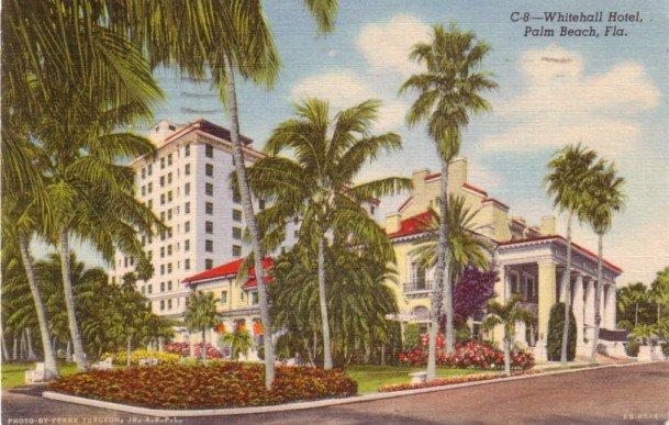 Whitehall Hotel in Palm Beach Florida FL, 1946 Curt Teich Linen Postcard - 3143