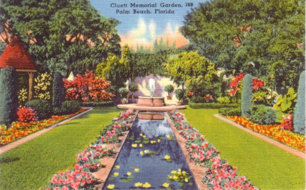 Cluett Memorial Garden in Palm Beach Florida FL, Linen Postcard - 3148