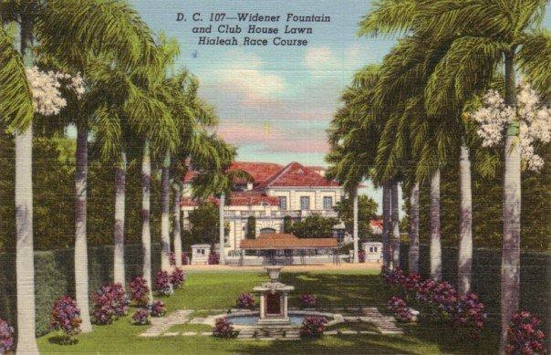 Widener Fountain at the Hialeah Race Course in Miami Florida FL, Curt Teich Linen Postcard - 3149