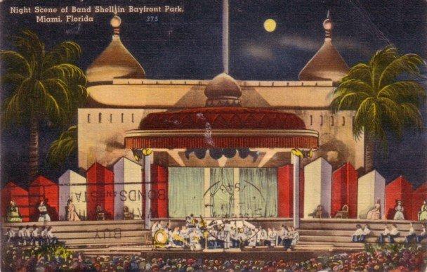 Band Shell at Night in Bayfront Park Miami Florida FL, 1943 Linen Postcard - 3151