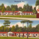 Twin Courts and Restaurant at Brunswick Georgia GA, Linen Postcard - 3160