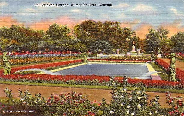 Sunken Garden at Humboldt Park in Chicago Illinois IL, 1941 Curt Teich Postcard - 3167