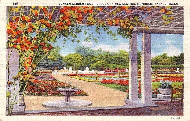 Sunken Garden from Pergola at Humboldt Park in Chicago Illinois IL, 1933 Curt Teich Postcard - 3168