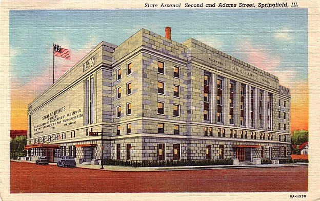 State Arsenal at Springfield Illinois IL, 1938 Curt Teich Linen Postcard - 3173