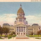 State Capitol at Springfield Illinois IL, 1934 Curt Teich Linen Postcard - 3174