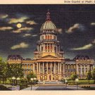 State Capitol at Night in Springfield Illinois IL, 1937 Curt Teich Linen Postcard - 3175
