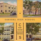 Central High School in Fort Wayne Indiana IN, 1939 Curt Teich Linen Postcard - 3184