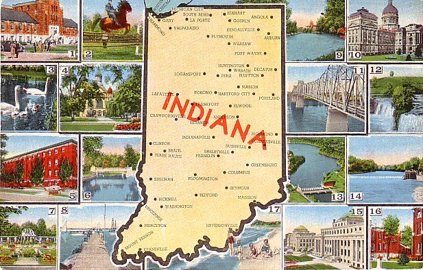 Multi Views of Indiana IN, State Map Mid Century Linen Postcard - 3185