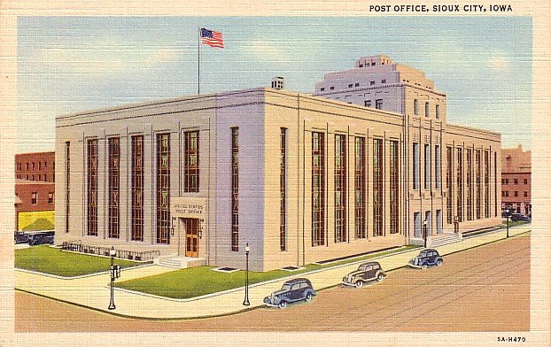 Post Office at Sioux City Iowa IA, 1935 Curt Teich Linen Postcard - 3187