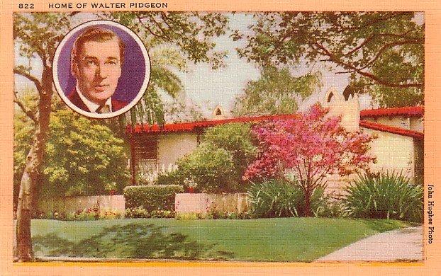 Home of Walter Pidgeon in California CA, Linen Postcard - 3195