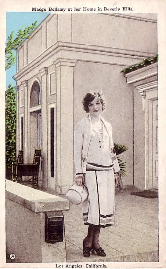 Madge Bellamy at her Home in Beverly Hills California CA, Vintage Postcard - 3206