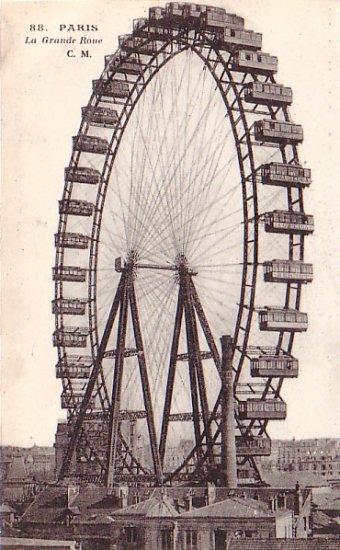 The Grande Ferris Wheel in Paris France, Vintage Postcard - 3210