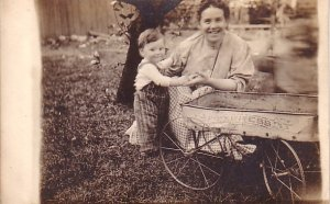 Mother and Son behind his Express Wagon, Real Photo Post Card RPPC - 3212